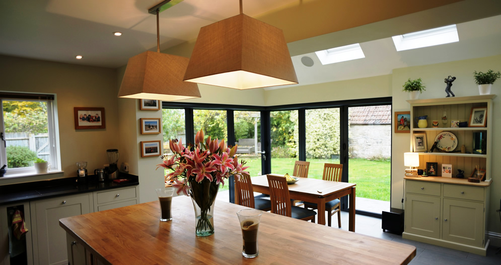 A 6 Part Bi Fold Door With Floating Corner Pillar Creates Wow Factor To The