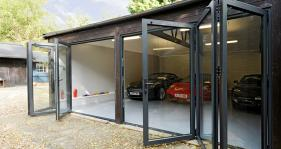 Bi Folding Doors gives this garage in the New Forest a 'something special' appearance