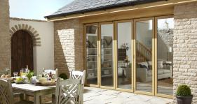 A 5 part bi fold door gives this courtyard a touch of clas