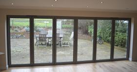 Panoramic Views using a 6 part Bi Fold door in Dark Grey