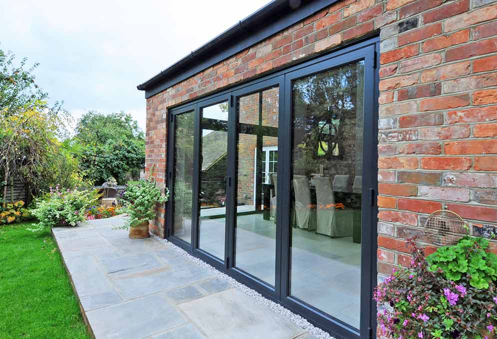Bi folding doors in Old Farmhouse Kitchen conversion project
